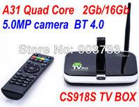 Upgrade CS918S Andriod 4.4 Smart TV Box Quad Core 2GB RAM 16GB ROM Built in 5.0MP Camera XBMC Bluetooth 4K WIFI free shipping
