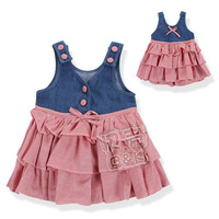 2014 summer fashion cute princess girls princess clothing baby vest layered cotton dress