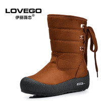 Medium-leg platform snow boots female boots platform lacing thermal cotton-padded shoes boots