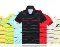 New 2014 Free shipping!HOT SELL!Men's Classic T-shirt ,Stripe color short-sleeved T-shirt,men's sport shirts  ST001B
