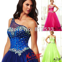 One Shoulder Heavy Beaded embellishments Full Tulle Skirt Floor Length Asymmetrical Sheer Gown