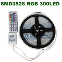 Free shipping! 20set/lot RGB/Single color 3528 SMD Flexible 300 LED Strip Light + 44 key IR Remote