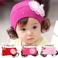 3pcs lots mix colors Super Cute Girls Little Girl Baby Flower Warm Headband Toddler Hairband w/ Wigs