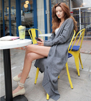 2014 new stylish long sleeved knit cardigan sweater coat solid color