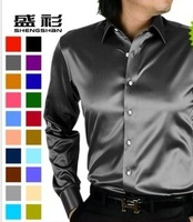 Male silver grey silk shirt silk shirt slim glossy plus size silks and satins shirt