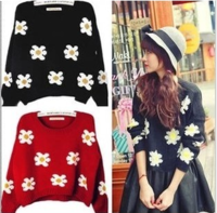 9073 2013 autumn and winter flower daisy sunflower short design sweater