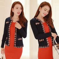Lady Like Slim Fit Long Sleeve Blue Short Jacket CoatFree Shipping F6322