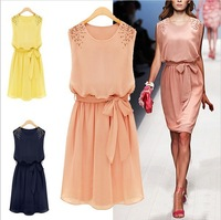 Free Shipping Fashion Summer Chiffon Pleated Bow Women's Plus Size Shoulder Beads Sleeveless Tank Dress One-piece Dress LBR588