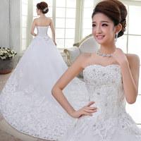 2013 tube top wedding dress formal dress paillette princess puff skirt wedding dress