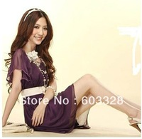 Womens Fit Business Dress Short Wave Sleeve Crew Neck Chiffon Casual Mini Dress
