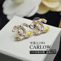 Accessories luxury small zircon stud earring brief earrings princess earring beautiful