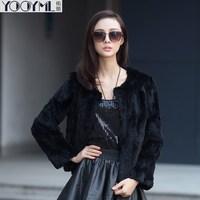 Free shipping 2014 black rabbit fur outerwear rabbit hair classic jacket fur coats a1