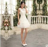 Slim 2014 Ladies Lace Bridesmaid Dress Short Design White Slit Neckline New Fashion A Line