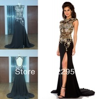 100% Real Photo Of Evening Dresses Wedding Events With High Neck Crystal Beading Slit Luxury Prom Dresses