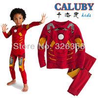 New arrivals 6 sets/lot kids Iron man pajamas set for girls boys children's cotton Christmas pyjamas/sleepwear+Free shipping