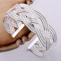 B018 Promotion price,925 sterling silver Fashion Jewelry women's weaving charm bracelets&bangle,Christmas Gift