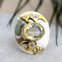 Handmade 925 silver pure silver jewelry natural yellow crystal gold plated ring finger ring