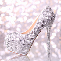 Fashion rhinestone wedding shoes ultra high heels platform women pumps slip-resistant women's bridal shoes formal dress shoes