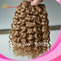 "100% blonde Brazilian wholesale 6A virgin human hair weft extension 10"" kinky curly #27 mix #30 in stock"