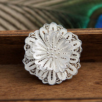 Handmade 925 silver pure silver jewelry traditional capillament wire flower brooch
