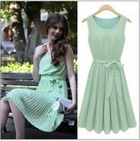 Hot! free shipping S-XL 2014new women chiffon dress bow pleated dress lady sleeveless ruffled one-piece dress solid elastic belt