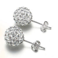 Women romantic bride fashion  jewelry Silver 925 crystal stud earrings round shaped joyas Ohrringe Brincos Pendientes