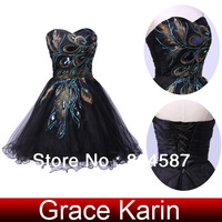 Grace Karin Black Short Peacock Dresses Cocktail Prom Ball Party Homecoming Dress US Size 2~16 CL4975