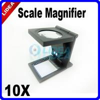 10X LED Illuminated Pocket Folding Scale Magnifier HK F-28