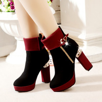 Fashion boots thick heel platform high-heeled platform shoes female boots martin boots motorcycle boots velvet