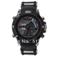 2013 new  Men's watch military watches sports Dual Time Dial LED Digital Quartz Alarm  wristwatches