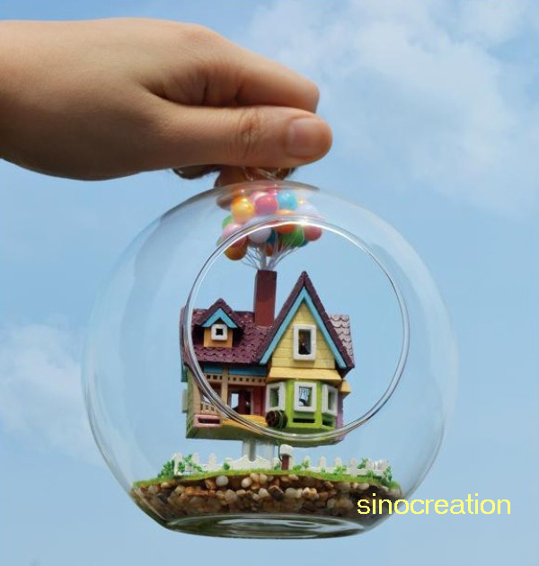 Free Shipping DIY House Glass Ball Flying Cabin,Pixar Film Up House Model With Miniature,Assembling Novelty Handmade Toy Gift(China (Mainland))