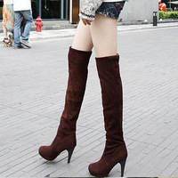 New 2014 Autumn Winter Flock Women Designer Snow Boots Over the Knee Motorcycle Boots High-heeled Shoes Platform XZ0038