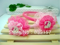 12pieces/lot  Three layers of lace hello kitty head bands for baby girls, Hair jewelry accessory best quality Free shipping!