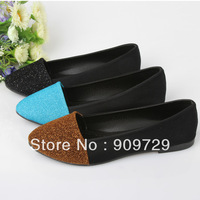 Spring and autumn women's shallow mouth flat shoes simple two-color color block pointed toe women's shoes decoration