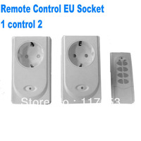 Two Way Double Gang RF Wireless Remote Control EU Plug Socket Power Switch 230V Indoor Only Drop Shipping 2 sets Wholesale