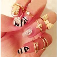 Metal punk knuckle ring 7 pcs Fingernail kit J1609