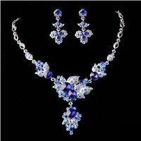 Free shipping Good quality Crystal wedding jewelry fashion classic Bride fashion brief crystal necklace stud earring 2 piece set