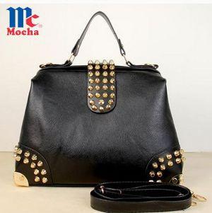 2015 Hot Fashion Rivet Motor PU leather women handbags Vintage women's Shoulder Bag Brand Women Messenger Bags Bolsas FQ0026(China (Mainland))