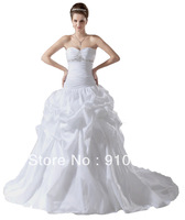 Free Shipping New Fashion White Taffeta Over Satin Strapless Crystal Beading Sweetheart Bridal Gown Patterns 2014 Latest Design