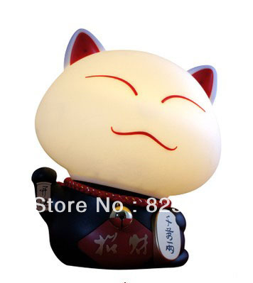 Novelty Lighting Table Lamp Nightlight Lucky Cat-Shaped Lamp Voice Dialogue Lamp Talking Alarm Clock Creative Gifts(China (Mainland))
