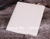Luxury fashion smart case cover gid PU leather magnetic flip case cover for Ipad 2 / 3 / 4, white color, free shipping