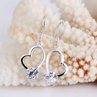 Free shipping, 925 silver earring zircon earrings inlaying zircon earrings jewelry fashion earring e017