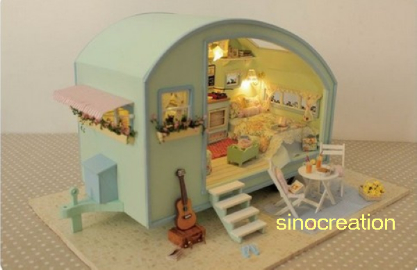 Free Shipping Assembly Dollhouse Toy DIY House Of Time Travel, Novelty Handmade Wooden House Toy For Kid's/Friends Novelty Gift(China (Mainland))