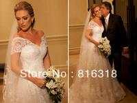 Vestido De Noiva 2014 Sexy Beautiful Wedding Dresses 2014 Bridal Gown Short Sleeve Lace Wedding Gowns Vestido De Casamento