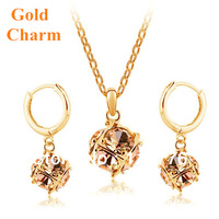 Free Shipping Austria Crystal with Swarovski element 18K GP Cubic Ball Pendant Necklace Drop Earrings Bride Women Jewelry sets