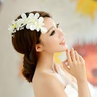 free shipping fresh silk flower handmade crystal beads hair accessory pearl wedding hair accessory flower
