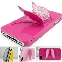 Hot sale Cute Cool Unique 3d angels wings Fashion stand phone back Cover Case For iphone 4 4s 5 5G 5S i phone5