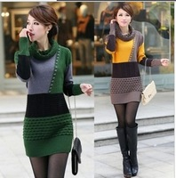 Plus size clothing thickening turtleneck outerwear medium-long sweater slim knitted dress with 2 style and 3 colors S04