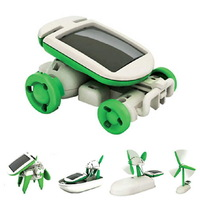 1 Pcs  DIY 6 in 1 Solar Educational Kit Toy Boat Fan Car Robot Power Moving Dog Novelty Toys  Free Shipping Wholesale