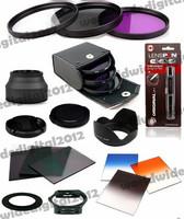 55MM UV CPL FLD Filter Kit + Lens Hood For Sony Alpha A55 A35 A65 A77 A57  + Graduated  ND2 ND8 Filter Kit for Cokin P Series
